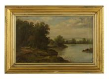 """Charles Stuart Forbes, (American, 1856-1926), """"Wooded Landscape with a Lake"""", oil on canvas, 15-3/4"""" x 26"""", framed 22-3/8"""" x 32"""""""