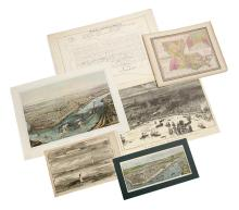 Collection of Six Late 19th/20th-Century Prints and Maps of Historic New Orleans and the Mississippi