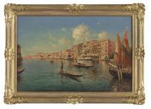 "Nicholas Briganti, (American/Italian, 1861-1944), ""Venetian Canal Scene with Gondoliers"", oil on canvas, 20"" x 30"", framed 25-1/2"" x..."
