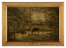 "Cesar de Cock, (Belgian, 1823-1904), ""Cattle, Sheep and Shepherd"", oil on wood panel, 10-1/2"" x 16"", framed 13"" x 18-1/4"""