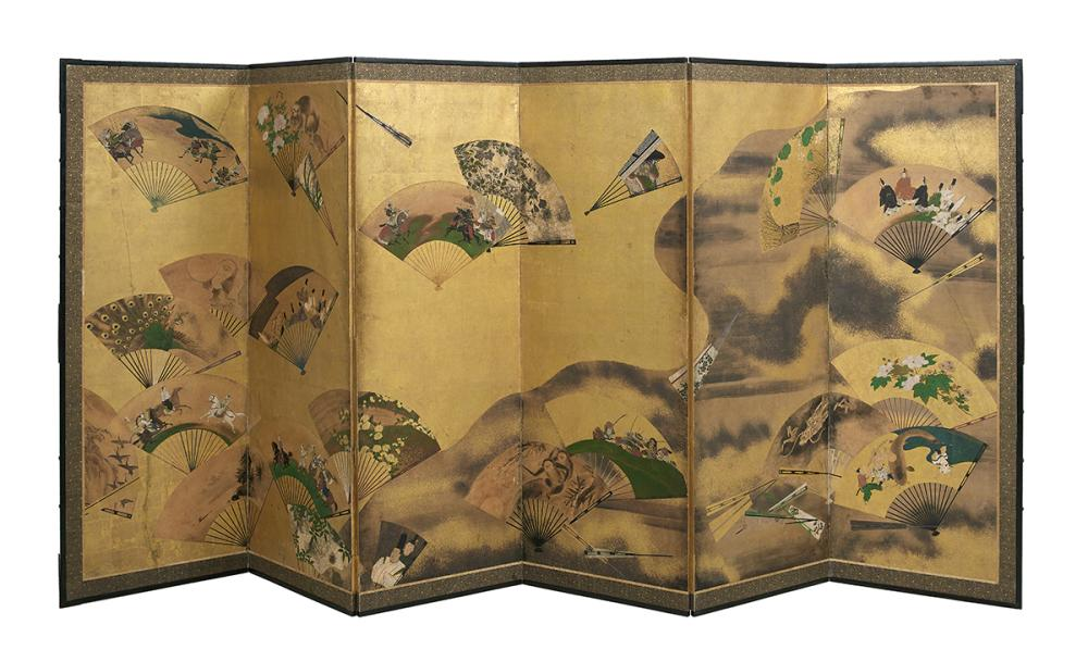 Exceptional Japanese Six-Panel Folding Screen