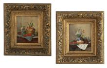 "Francois Joseph Huygens (Belgian, 1820-1908), ""Pair of Still Lifes"""