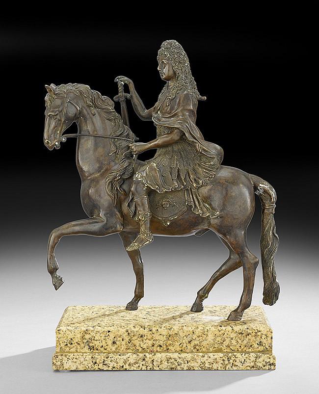 French Equestrian Bronze of Louis XVI