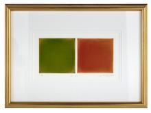 """Anne Appleby, (American, b. 1954), """"Red/Green"""", 1997, color aquatint, sight 7-3/4"""" x 14-1/8"""", framed 18"""" x 24-1/2"""""""