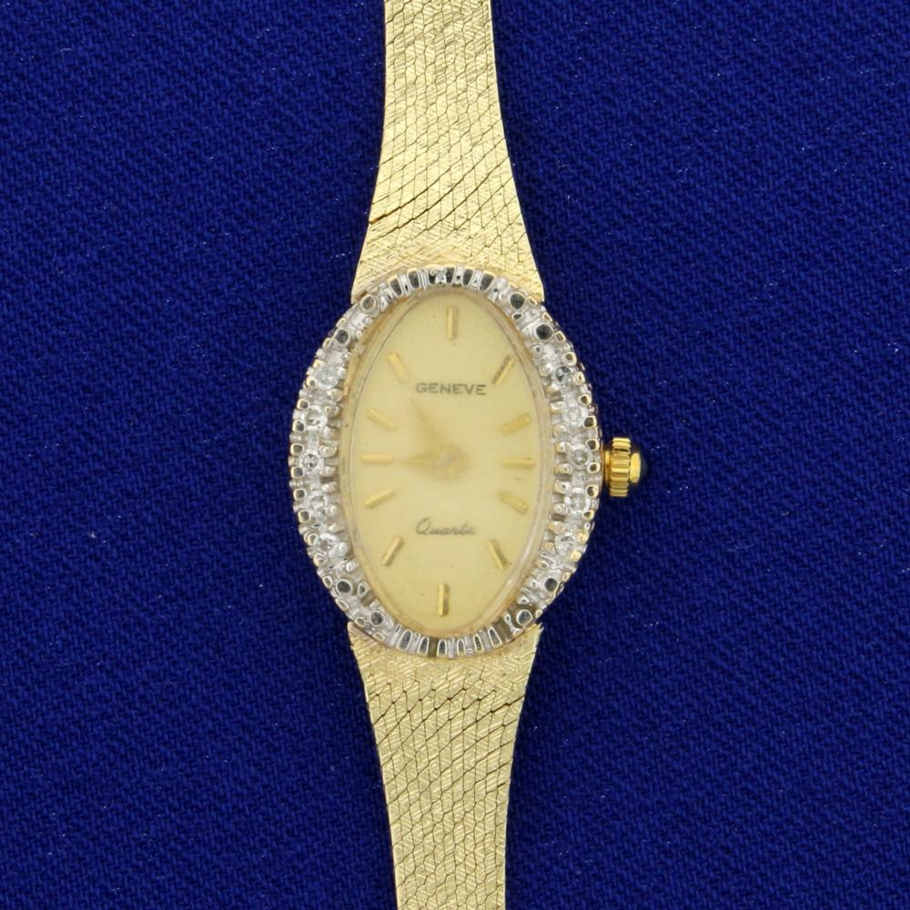 d473e4b53ff Vintage Women s Geneve Diamond and Sapphire Watch in 14K Yellow Gold