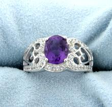 Vintage Style Amethyst Ring Mounted in Sterling Silver