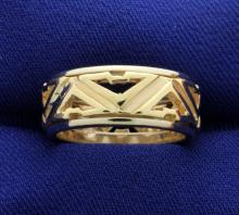 14k Yellow Gold & White Gold 8mm Wide Band