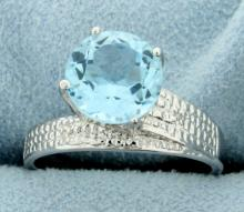 Huge Blue Topaz Ring with Diamonds