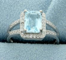 Emerald Cut Blue topaz Ring