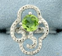 Large Peridot and Diamond Statement Ring