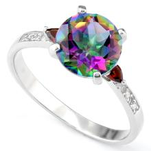 Mystic Topaz and Garnet Ring in Sterling Silver