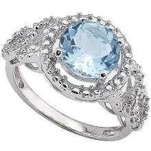 Large Sky Blue Topaz Ring with Diamond Accents in Sterling Silver