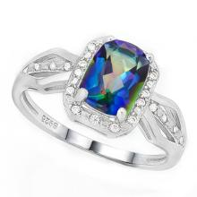Deco Inspired Ocean Mystic Blue Topaz Ring in Sterling Silver