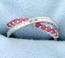 African Ruby and Diamond Criss-Cross Band