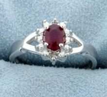 African Ruby ring with diamonds