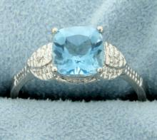 Vintage Style Blue Topaz Ring with Diamonds