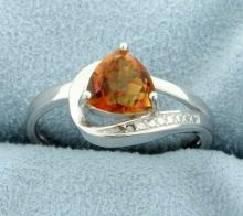 Contemporary Azotic Topaz Ring with Diamonds