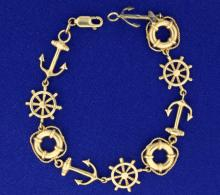 Nautical Bracelet with anchor, rescue tube, and ship's helm
