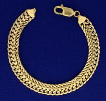 Italian Made 7 Inch Double Curve Link Braided Bracelet