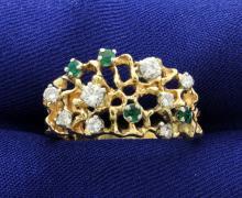 Diamond & Emerald 14k 13mm wide Band Ring
