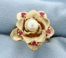 Vintage Ruby & Pearl Ring