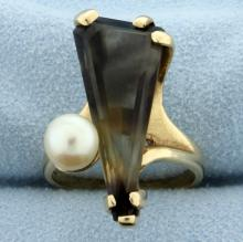 Smoky Quartz and Pearl Ring