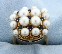 Vintage Pearl & Sapphire Ring