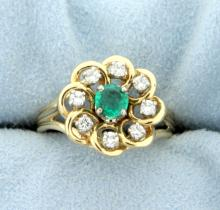 Natural Emerald and .4 ct TW Diamond Ring