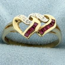 Ruby & Diamond Heart Ring