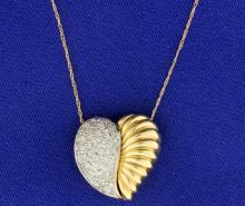 1 ct TW Micro Pave Set Diamond Pendant on Chain