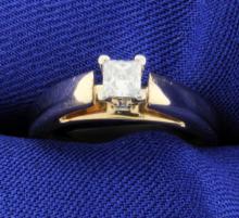 Princess Cut Diamond Solitaire 14k Ring
