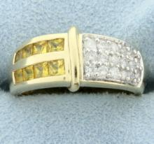 Diamond & Citrine Ring