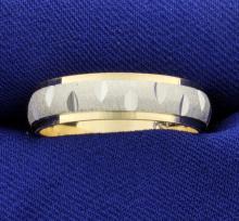 White and Yellow 14k Gold Wedding Band