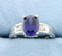 Sterling silver ring with lab Tanzanite & Diamonds