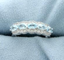 Genuine Sky Blue Topaz Ring set in Sterling Silver