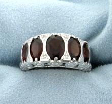 Genuine Garnet Statement Ring in Rhodium over Sterling Silver