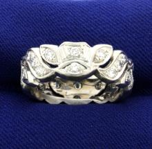 Platinum 1.08 ct Diamond 8mm Band Ring