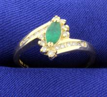 Emerald & Diamond 14K Ring