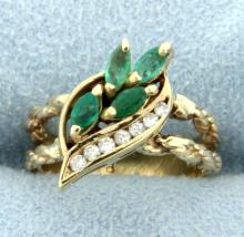 Natural Emerald & Diamond Pinky Ring