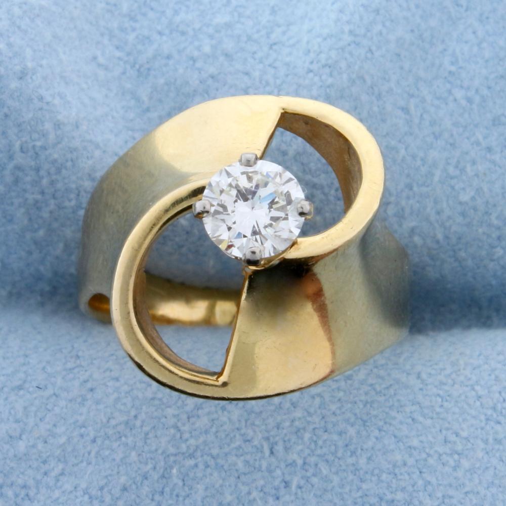 1/2 ct Solitaire Designer Diamond Ring in 14k Yellow Gold