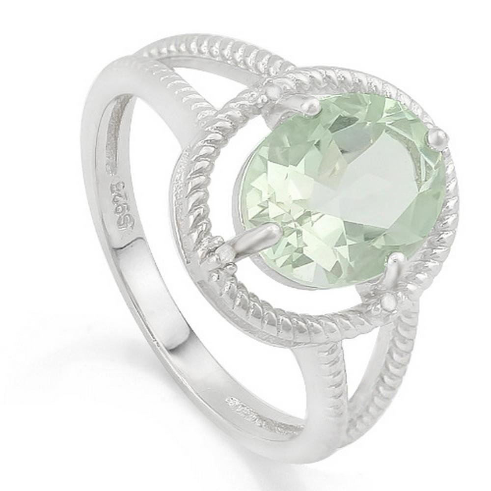 Huge 2.4CT Green Amethyst Rope Halo Split Shank Style Ring with Diamond in Sterling Silver