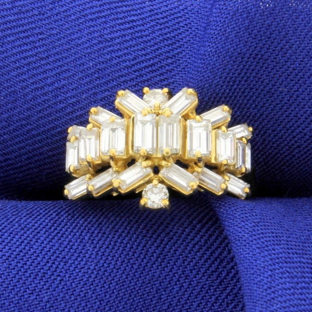 2.5ct TW Round and Baguette Diamond Ring in 18K  Yellow Gold