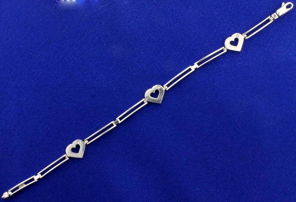 Italian Made Diamond Heart Bracelet in 14k White Gold
