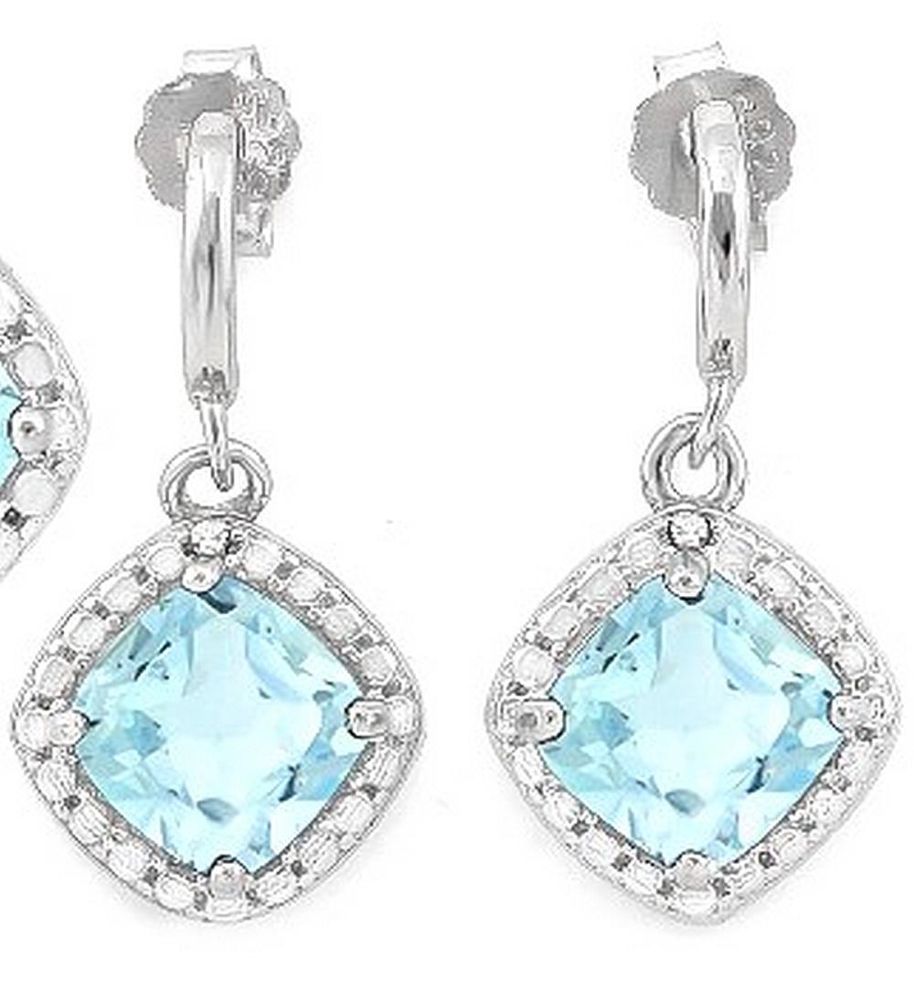 Sky Blue Topaz and Diamond Dangle Earrings in Sterling Silver