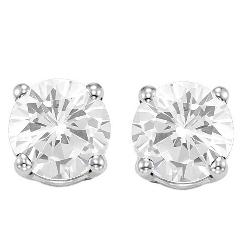 6MM White Topaz Stud Earrings in Sterling Silver