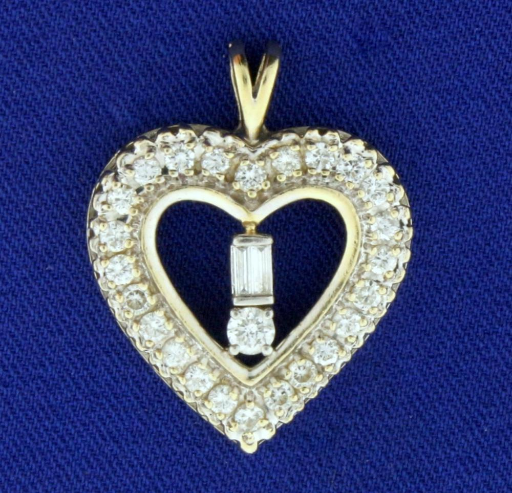 1.25ct TW Diamond Heart Pendant in 14k Yellow Gold