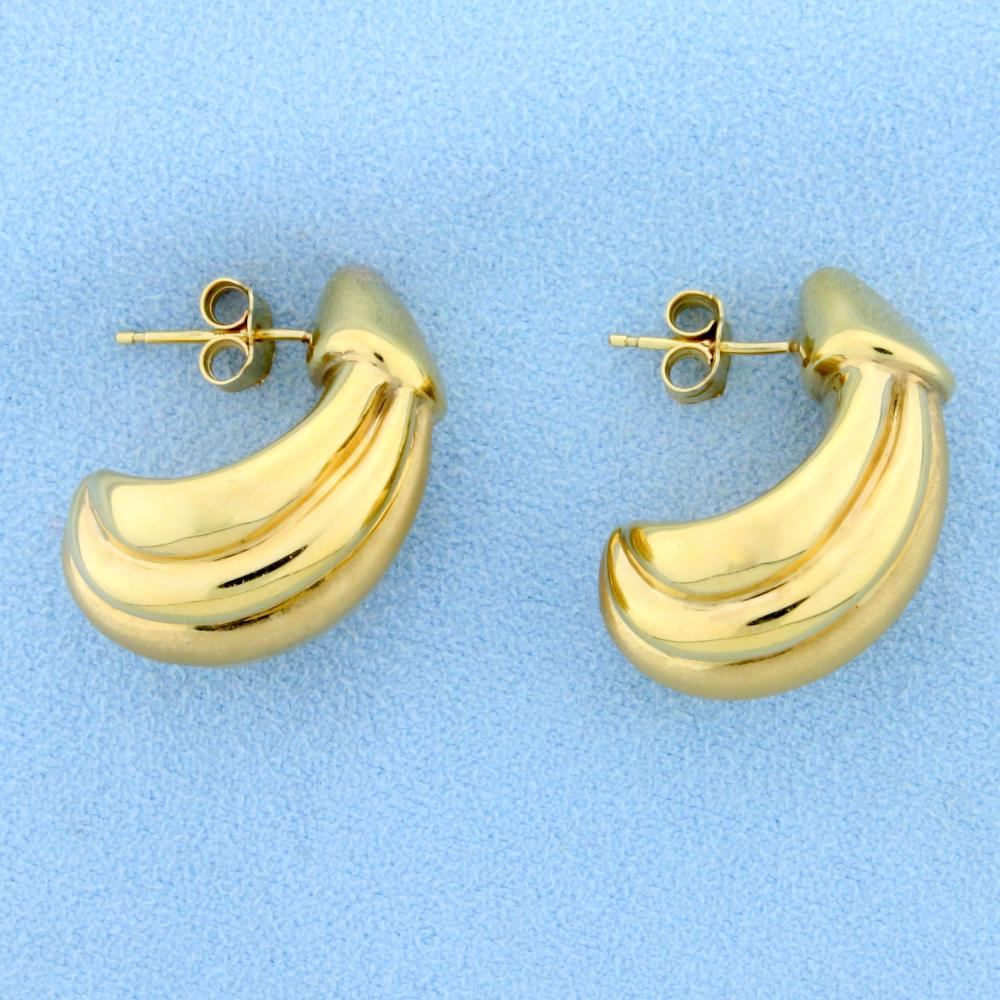 Large Crescent Shaped Gold Earrings in 14k Yellow Gold