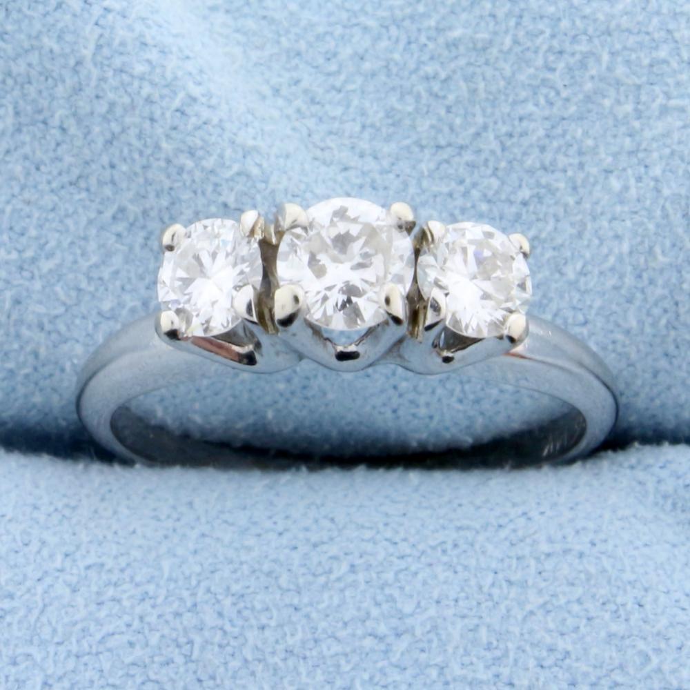 .9ct TW Three Stone Diamond Anniversary Ring in 14k White Gold