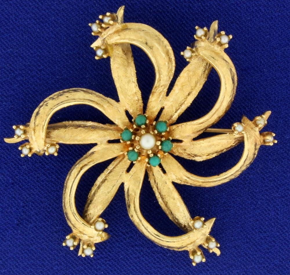 Large Vintage Seed Pearl PinWheel Pin in 14k Gold