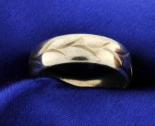Engraved 7mm white gold Band